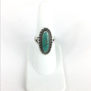 Sterling Silver Turquoise Beaded Edge Ring 6.5